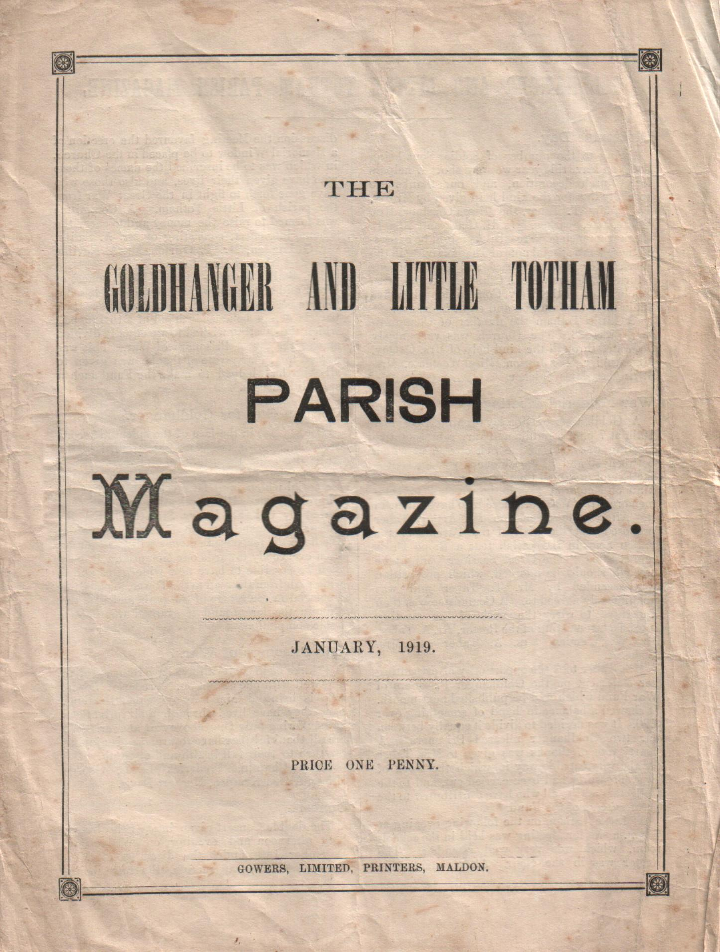 photo of Goldhanger Parish Magazine from 1919 costing one penny