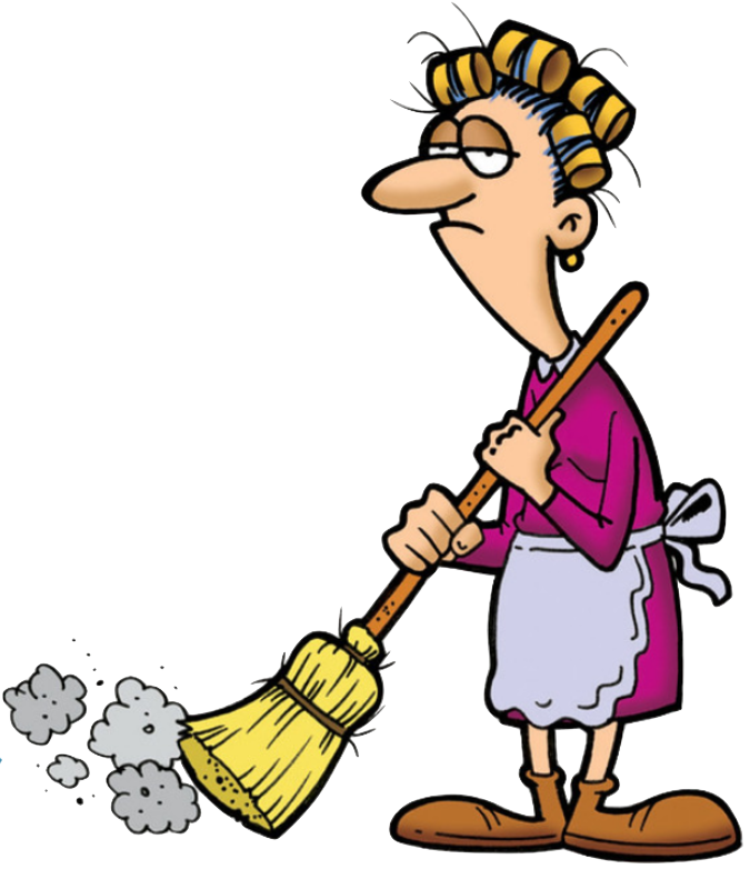 image of cleaning lady looking fed up